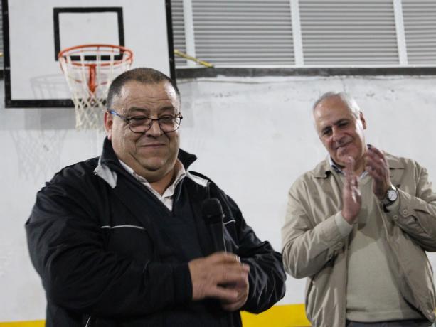 Francisco Fleitas, alcalde del Municipio F, y Héctor Assir, presidente de la Institución Atlética Larre Borges.