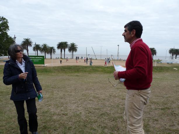 Verónica Suñer y Miguel Pereira de la Unidad de Participación. Propuesta: Mejorar infraestructura Espacio Club Social y Deportivo Estrella del Sur.