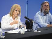 Conferencia de prensa de la Intendenta en el Teatro Solís. Foto: IM.