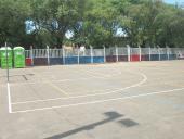 Riego asfáltico en cancha de la Plaza de Deportes Nº 6